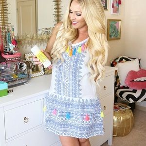 Dresses & Skirts - White & blue patterned dress with tassels